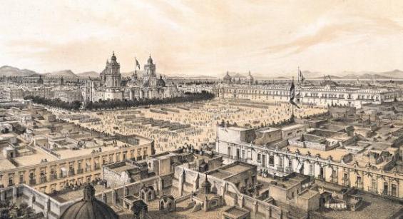 Plaza de Armas en México con la Catedral al fondo. C. Castro. Siglo XIX.