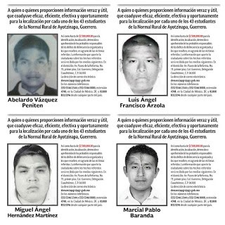"""Rostros de cuatro de los 43 estudiantesde la Escuela Normal Rural """"Isidro Burgos"""" de Ayotzinapa, Guerrero"""